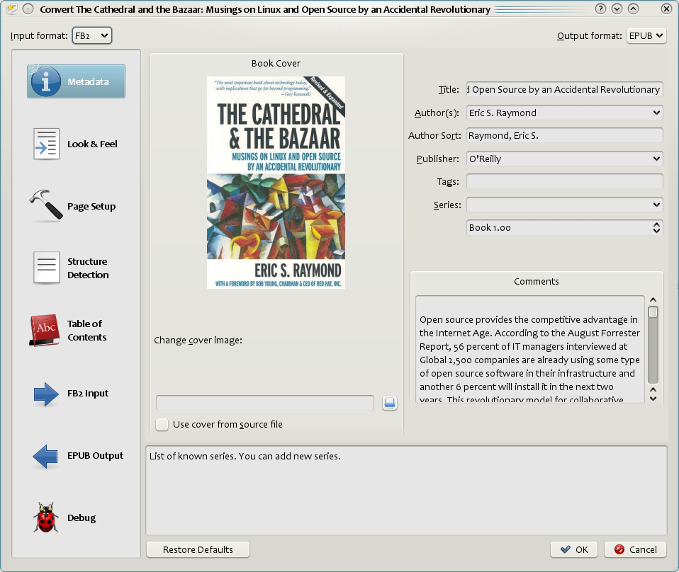 E-book conversion dialog